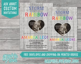 Personalized Rainbow of Hope Baby Shower Invitation with Ultrasound Photo | 4x6 or 5x7, Digital (You Print) or Printed, FREE USA Shipping