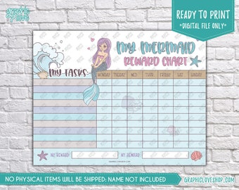 Digital Cute Mermaid Girls Printable Reward Chart with Blank Tasks | High Resolution JPG File, Instant download NOT Editable, Ready to Print