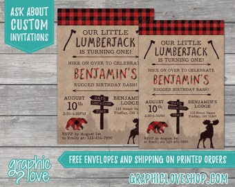 Personalized Lumberjack Rugged Birthday Invitation | Red Flannel, Buffalo Plaid Bear | 4x6 or 5x7, Digital File or Printed, FREE US Shipping