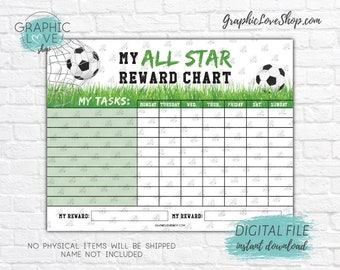 Digital Soccer/Football Printable Reward Chart with Blank Tasks | High Resolution JPG File, Instant download NOT Editable, Ready to Print