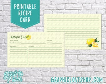 Digital 3x5 Watercolor Lemons Double Sided Recipe Card   Bridal Shower Activity   High Res JPG Files, Instant Dowload, Ready to Print