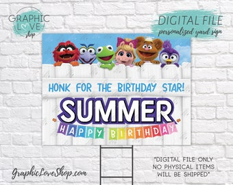Digital File 18x24 Personalized Muppet Babies Happy Birthday Yard Sign, Gender Neutral | Printable High Resolution JPG, Made To Order