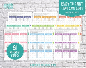 Digital Baby Shower Taboo, 81 Printable Cards | Gender Reveal Party Game, Sprinkle, New Baby | PDF File, Instant Download, Ready to Print