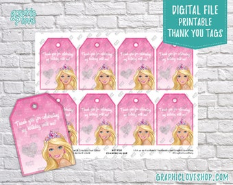 Digital Barbie Pink Princess Printable Birthday Thank You Tags | High Resolution JPG File, Instant Download, Ready to Print