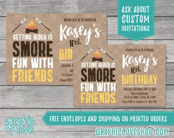 Smore Fun with Friends Personalized Birthday Invitation | 4x6 or 5x7, Digital File or Printed