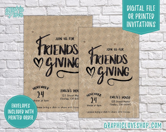 Featured listing image: Personalized Modern Friendsgiving Thanksgiving Dinner Party Invitation | 4x6 or 5x7, Digital File or Printed, FREE USA Shipping, Envelope