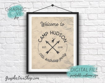 Digital 8x10 Rustic Camp Badge/Logo Personalized Birthday Party Welcome Sign, with Age | Printable High Resolution JPG File, Made To Order