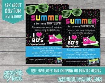 Personalized 80s Theme Black and Neon Birthday Invitation, Any Age | 4x6 or 5x7, Digital File or Printed, FREE US Shipping & Envelopes