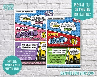 Personalized Comic Style Superhero Birthday Invite, Any Age, Boy & Girl Colors | 4x6 or 5x7, Digital File or Printed, FREE US Shipping