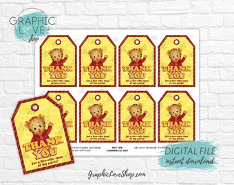 Digital Daniel Tiger's Neighborhood Printable Birthday Party Thank You Tags | High Resolution JPG File, Instant Download, Ready to Print
