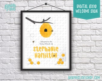 Digital 8x10 Sweet Honey Bee Personalized Baby Shower Welcome Sign, Gender Neutral | Made to Order, Printable High Resolution JPG File
