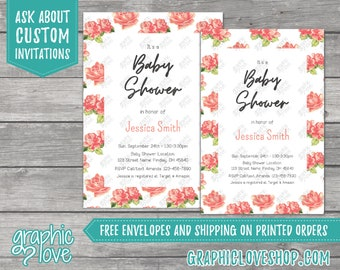 Personalized Floral Watercolor Rose Girl Baby Shower Invitation | 4x6 or 5x7, Digital File or Printed,FREE US Shipping & Envelopes