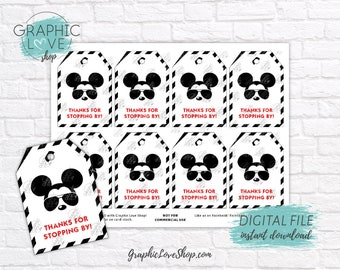 Digital Modern Mickey Sunglasses Printable Thank You Favor Tags | High Resolution 300dpi JPG File, Instant Download, Ready to Print
