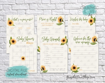 Digital 5x7 Watercolor Sunflowers Baby Shower Game Pack, Wishes for Baby, Advice for Mom | Printable PDF, Instant Download, Ready to Print
