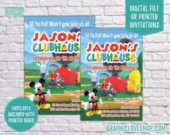 Personalized Mickey Mouse Clubhouse Birthday Invitation, Any Age | 4x6 or 5x7, Digital or Printed, Envelopes, FREE US Shipping