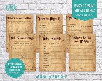 Digital Set of 6, 5x7 Harry Potter Theme Baby Shower Games & Advice for Mom Card | Printable PDF File, Instant Download, Ready to Print