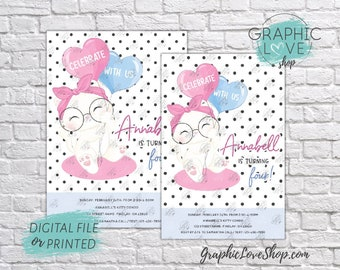 Personalized Cute White Kitten Polka Dots Birthday Invitation, Any Age | 4x6 or 5x7, Digital File or Printed, FREE US Shipping & Envelopes