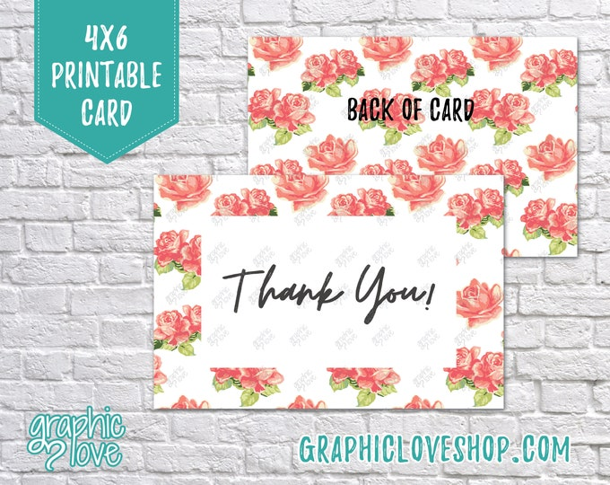 Featured listing image: Digital 4x6 Floral Watercolor Rose Thank You Card - Folded & Postcard | High Res JPG Files, Instant Download, Ready to Print, NOT Editable