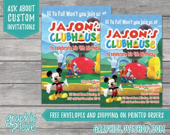 Personalized Mickey Mouse Clubhouse Birthday Invitation | 4x6 or 5x7, Digital or Printed