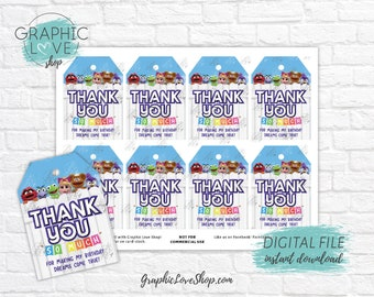 Digital Muppet Babies Disney Junior Printable Birthday Thank You Favor Tags | High Resolution JPG File, Instant Download, Ready to Print