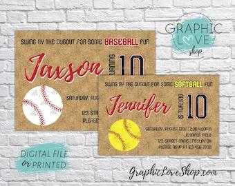 Fastpitch Softball or Baseball, Ball Diamond Birthday Invitation, Any Age | 4x6 or 5x7 Digital File or Printed, Envelopes, FREE US Shipping