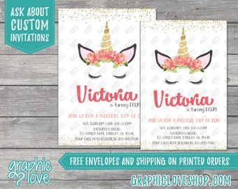 Floral Unicorn Personalized Birthday Invitation | 4x6 or 5x7, Digital File or Printed, FREE US Shipping & Envelopes