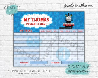 Digital Thomas The Train Red and Blue Blank Printable Reward Chart | High Resolution JPG File, Instant download NOT Editable, Ready to Print