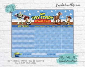 Digital Toy Story, Woody Buzz Jessie Blank Printable Reward Chart | High Resolution JPG File, Instant download NOT Editable, Ready to Print