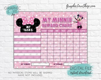 Digital Disney Minnie Mouse Pink Blank Task Printable Reward Chart | High Resolution JPG File, Instant download NOT Editable, Ready to Print