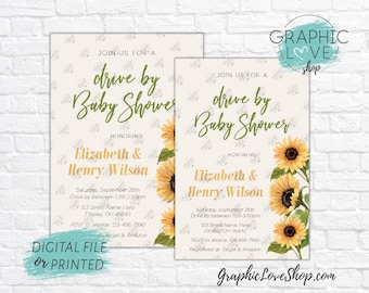 Personalized Drive By Watercolor Sunflowers Fall Baby Shower Invitation, Neutral | 4x6 or 5x7 Digital JPG File or Printed, FREE US Shipping