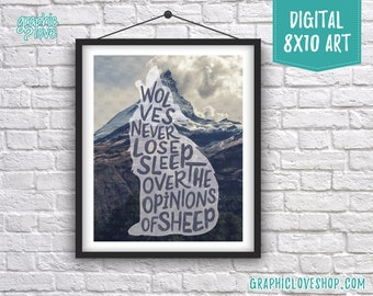 Printable 8x10 Wolf Silhouette Over Mountains, Never Lose Sleep Quote Digital Art Print | High Res JPG File Instant Download, Ready to Print