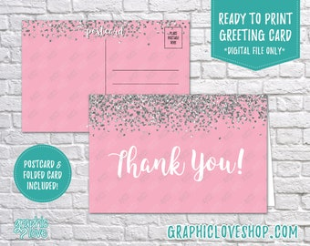 Digital 4x6 Pink Silver Glitter Thank You Card, Folded & Postcard Included | High Resolution JPG Files, Instant Download, Ready to Print