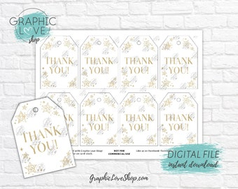 Digital File Gold Twinkle Little Star Printable Thank You Favor Tags, Baby Shower| High Resolution JPG, Instant Download, Ready to Print