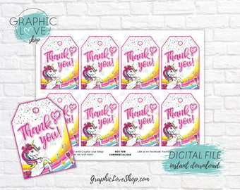 Digital File JoJo Siwa Girly Rainbow Printable Birthday Party Thank You Tags | High Resolution JPG, Instant Download, Ready to Print