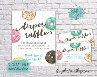 Digital Watercolor Sweet Donut Baby Shower Diaper Raffle Sign and Cards, Gender Neutral | PDF File, Instant Download, Ready to Print