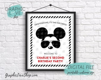 Digital 8x10 Modern Mickey Red Black White Personalized Birthday Party Welcome Sign | Printable High Resolution JPG File, Made To Order