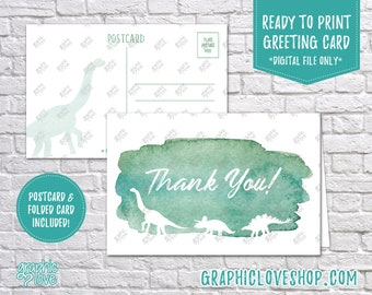 Digital 4x6 Green Watercolor Dinosaur Thank You Card, Folded & Postcard | High Res JPG Files, Instant Download, NOT Editable, Ready to Print