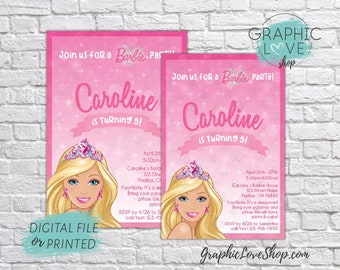 Personalized Pink Sparkle Princess Barbie Birthday Invitation, Any Age| 4x6 or 5x7, Digital File or Printed, FREE US Shipping & Envelopes
