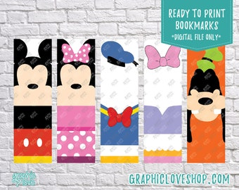 Printable Mickey Mouse Clubhouse Digital Bookmarks, Set of 5 | Minnie, Donald, Daisy, Goofy | JPG File, Instant Download, Ready to Print