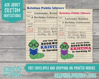 Personalized Bookworm Library Card Boy/Girl Birthday Invitation | 4x6 or 5x7, Digital File or Printed