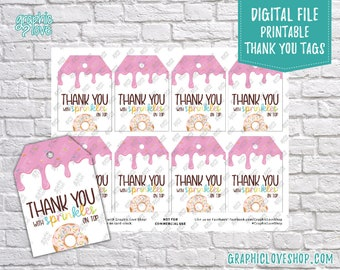 Digital Sprinkles Donut Printable Thank You Favor Tags   High Resolution 300dpi JPG File, Instant Download, Ready to Print