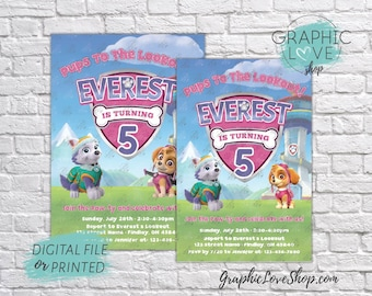 Personalized Girl Paw Patrol Skye and Everest Birthday Invitation, Any Age | 4x6 or 5x7, Digital or Printed, FREE US Shipping & Envelopes