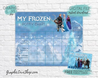 Digital Frozen Princess Anna, Elsa Disney Potty Chart, FREE Punch Cards | High Res JPG Files, Instant download, NOT Editable, Ready to Print