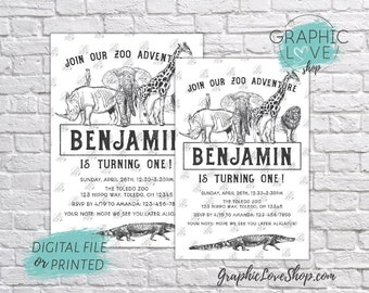 Personalized Black and White Zoo Animals Birthday Invitation, Any Age | 4x6 or 5x7, Digital JPG File or Printed, Envelopes, FREE US Shipping