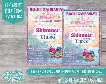 Shimmer and Shine Personalized Birthday Invitation, Any Age | Nick Junior, Genie, Sparkle | 4x6 or 5x7, Digital or Printed, FREE US Shipping