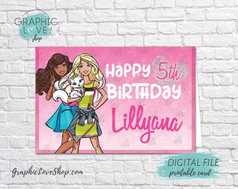 Digital 4x6 Barbie Cultural Personalized Happy Birthday Card with Name and any age | Printable High Resolution JPG File, Made To Order