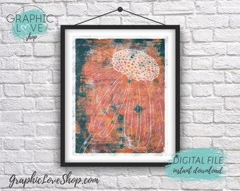 Digital File 8x10 Abstract Daisy Flower Lino Print Design Printable Artwork | High Resolution 300dpi JPG, Instant Download, Ready to Print