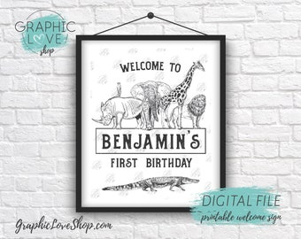 Digital 8x10 Black and White Zoo Animals Personalized Birthday Party Welcome Sign, Age | Printable High Resolution JPG File, Made To Order