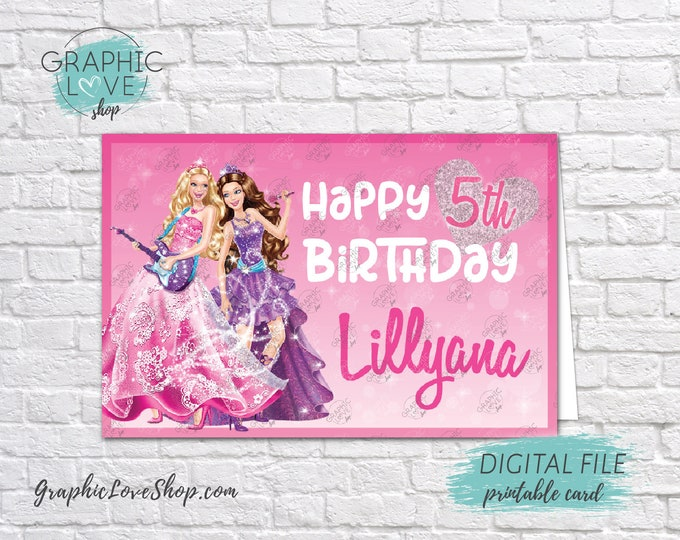 Featured listing image: Digital 4x6 Princess Barbie Personalized Happy Birthday Card with Name and any age | Printable High Resolution JPG File, Made To Order