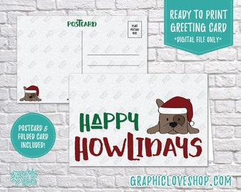 Digital 4x6 Happy Howlidays Puppy Dog Christmas Card, Folded Card & Postcard included | High Res JPG Files, Instant Download, Ready to Print
